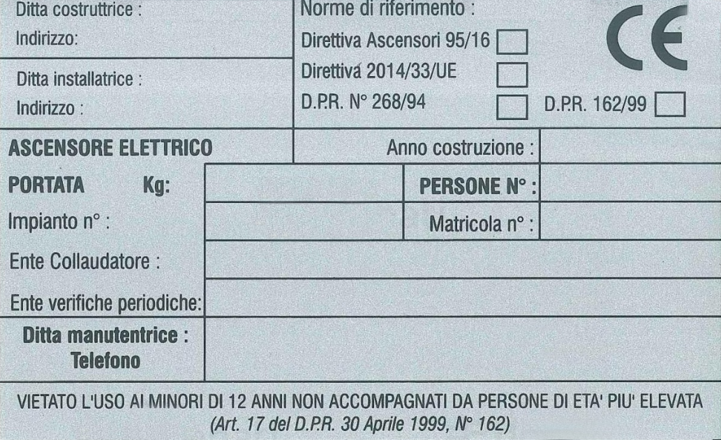 Targa Cabina Imp.Collaudato 95/16 E Sanatoria