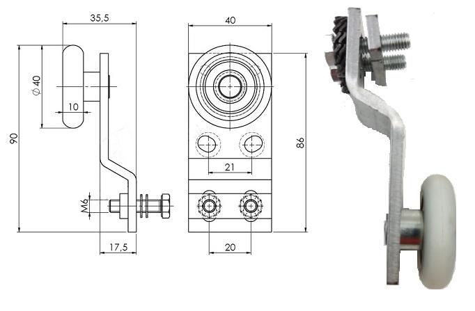 Supporto LG 13,5 sagomato per antina completo per QKS-8