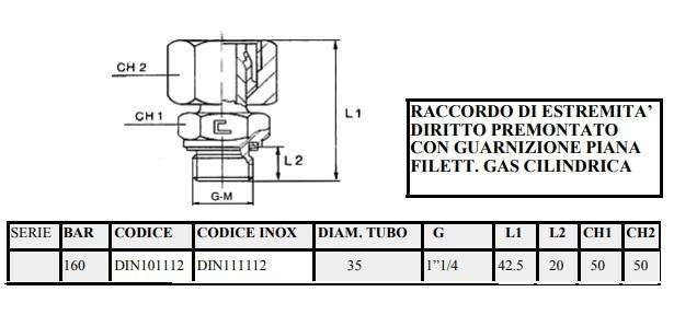Raccordo di estremità diritto premontato con guarnizione piana filett. gas cilindrica