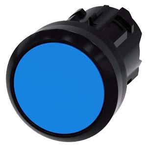 pulsante, 22 mm, rotondo, in plastica, blu, bottone, piatto ad impulso