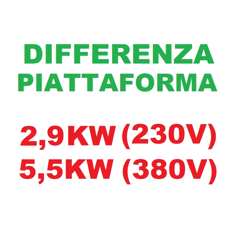 Differenza PIATTAFORMA 2,3KW A 2,9KW 230 (5,5KW)